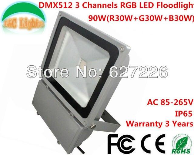 3 Channels RGB LED  Floodlight 90W IP65 Waterproof Led DMX Stage Light With DMX512 Master-Slave Led Flat Par Light DJ Equipments