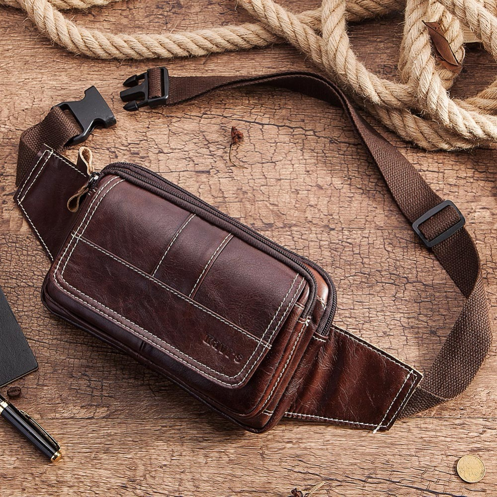 KAVIS New 100% Cowhide Genuine Leather Waist Bag Packs Men Pack Belt Loops Hip Mobile Phone Pouch Holder Male High Quality
