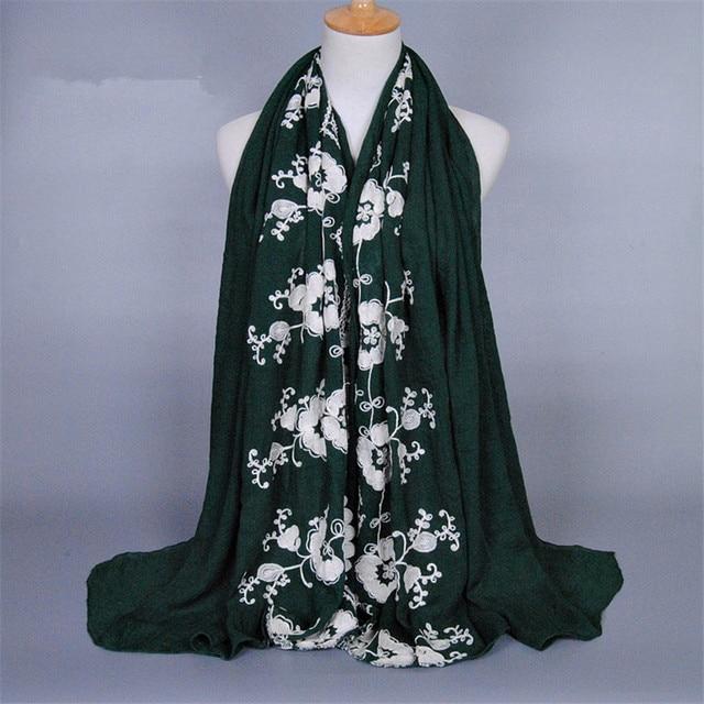broderie fleur coton prière hijab sarong Écharpe hijab turque