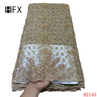 Gold African French Lace Fabric with 3D flowers High Quality African Tulle Lace Fabric with beads 5yards gold lace fabric F2145