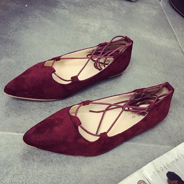 Zapatos planos de mujer de ballet pisos de gamuza con punta de gamuza Detalle de zapatos planos más el tamaño ttbaSGC