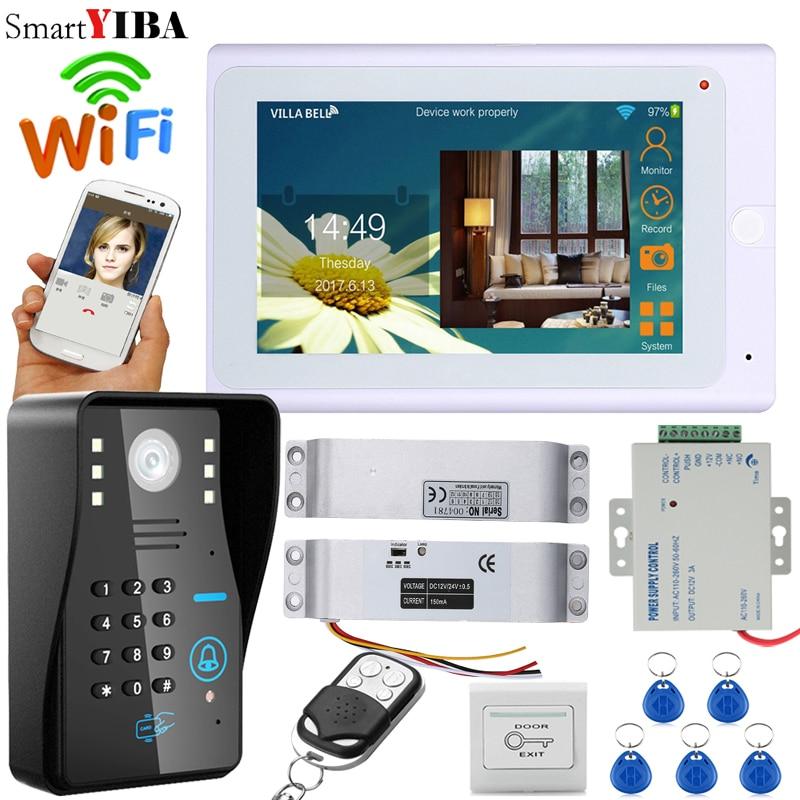 SmartYIBA 7 Inch White Monitor RFID Password Wifi Wireless Video Door Phone Doorbell Camera Intercom Kit With Electric Door Lock
