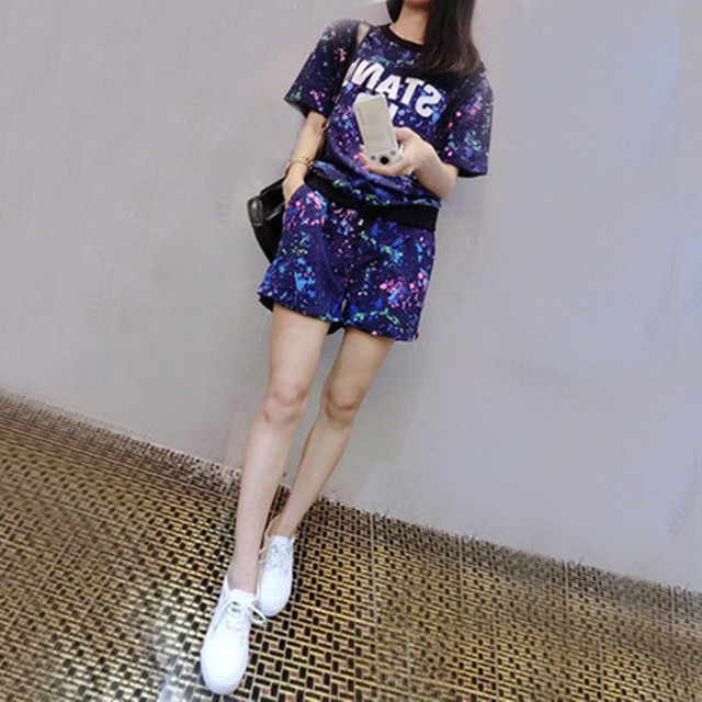 2018 New Summer Women Set Short Sleeve Printed T Shirt + Shorts Sweat Suits Set Women Tracksuits Camouflage Two Piece Sets