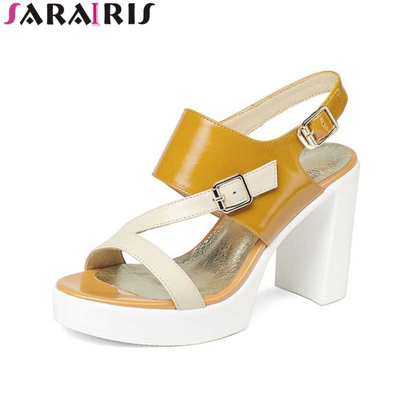 SaraIris Summer Fashion Genuine Leather Mixed Color Ankle Strap Sandals Platform Buckle High Square Heel Women Shoes Size 34-39 xiaying smile summer new woman sandals platform women pumps buckle strap high square heel fashion casual flock lady women shoes page 4