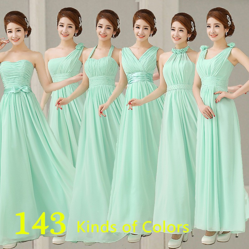 2016 hot sweet and elegant style A line of six simple elegant flower long mint green chiffon   bridesmaid     dress   custom size 2-28w
