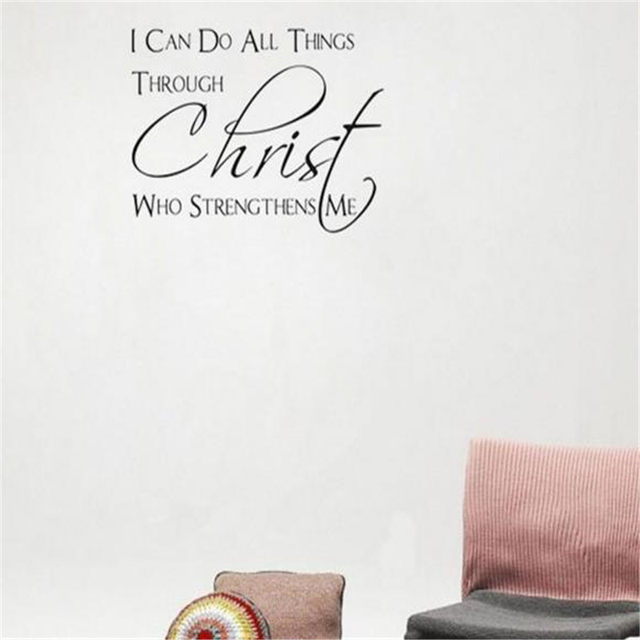 I Can Do All Things Through Christ Wall Stickers For Living Rooms Home Decor DIY Wallpaper Art Decals House Decoration