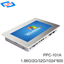 Fanless 10.1 inch Industrial Touch Screen Panel PC With 2xLAN 2x10/100/1000Mbps RJ45 RTL8111E 2xUSB2.0 2xCOM RS232