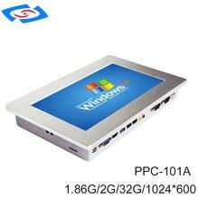 Fanless 10,1 inch Industrielle Touch Screen Panel PC Mit 2 xLAN 2x10/100/100 0 Mbps RJ45 RTL8111E 2xUSB2. 0 2 xCOM RS232