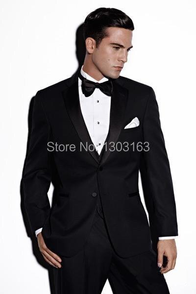 2018 hombres de la moda trajes Haut Groom Tuxedos hombres vestido de boda ropa de baile El mejor traje de hombre (Jacket + Pants + Tie + Vest) Envío gratuito