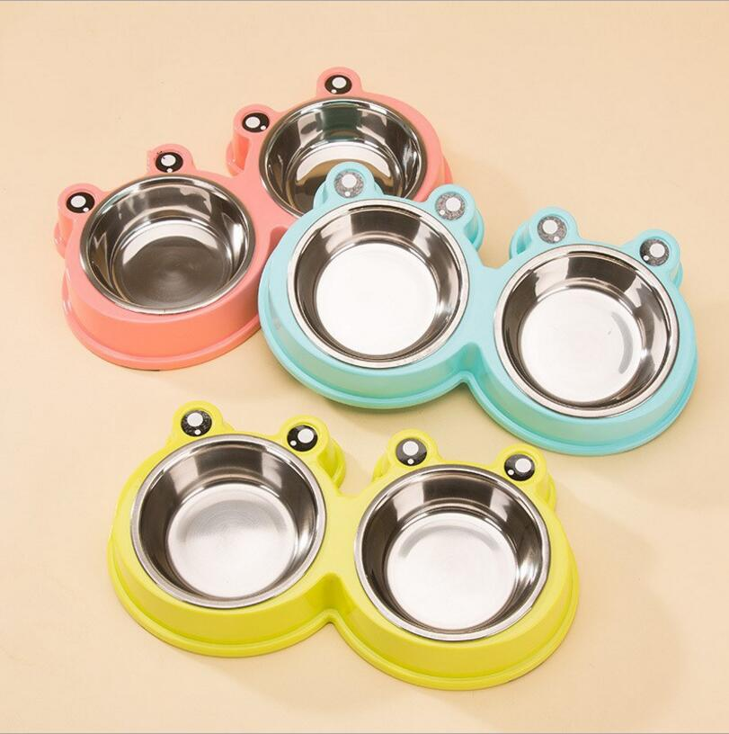 NEW Cute Stainless Steel Pet Double Dog Bowl Puppy Cat Durable Water Dish Feeder Leak Proof Dog Bowls Pet Products 3 Color