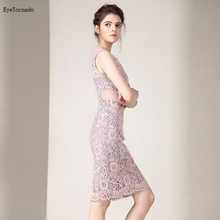 Women Summer fashion o neck Short sexy bodycon work party club evening beach lace tank office dress vestido plus size 9522