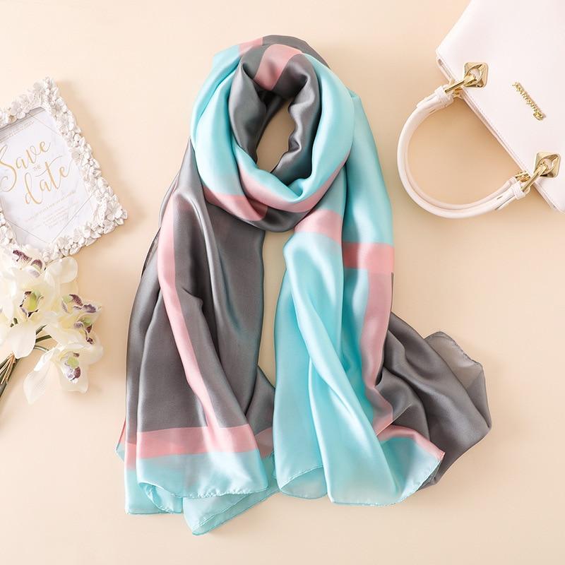scarf   designer women luxury 2019 silk long scarfs   wraps   striped print female pashmina hijab lady beach   scarf