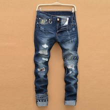 jeans male New fashion robins hole jeans pants men fashion's jeans men Trousers straight pants designer high quality