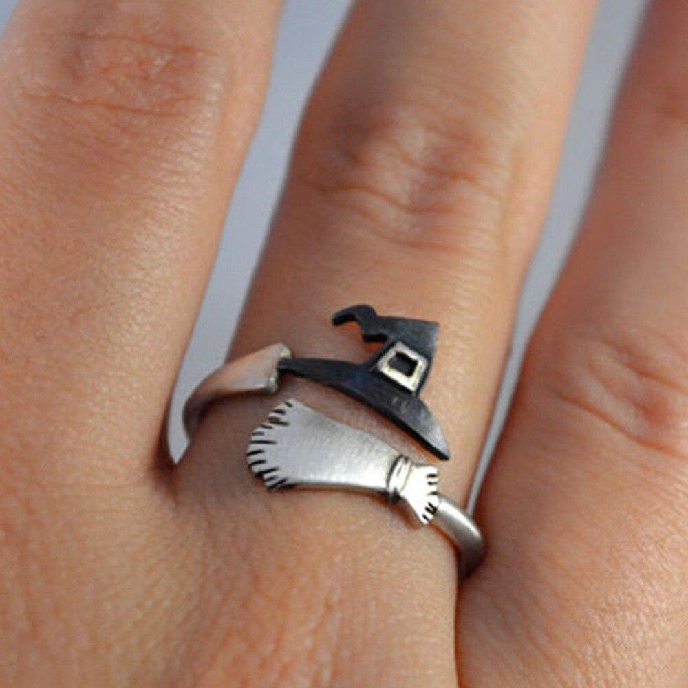 Detalle Comentarios Preguntas sobre Bonito Halloween Decoracion joyería  mujeres anillos bruja sombreros escoba mopa calabaza lámpara aleación dedo  anillos ... fbaec13df9a