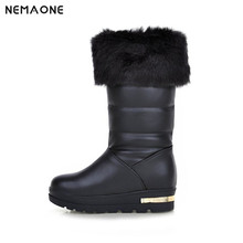 NEMAONE Women Winter Shoes black waterproof female ankle snow boots lady's cotton-padded casual outdoor warm shoes big size