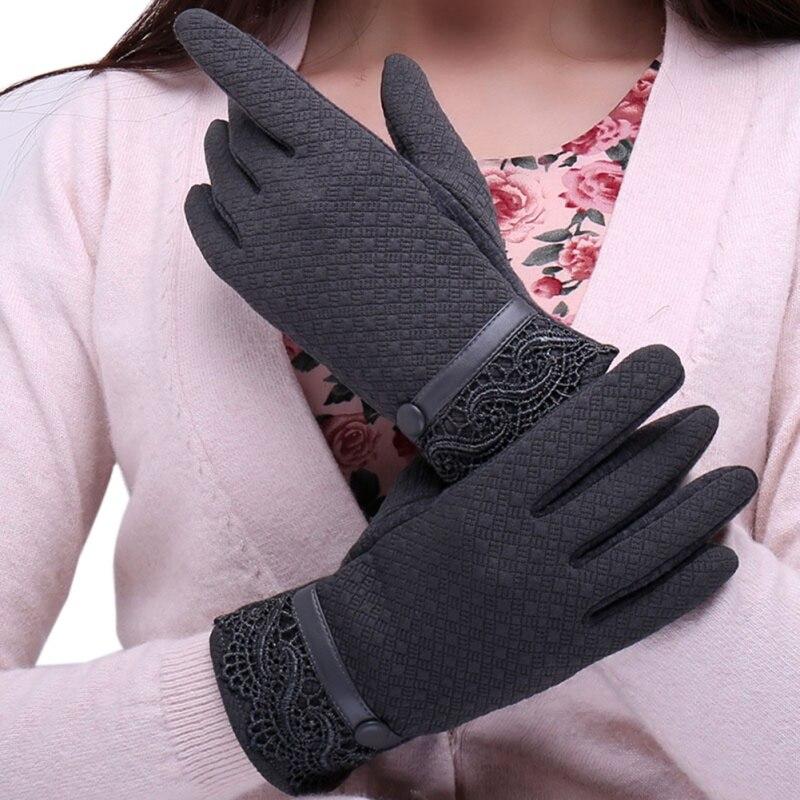 Women Fashion Gloves Warm Glove Autumn Winter Cute Warmer Mitts Ladies Full Finger Mittens Women Cashmere Female Lace Gloves