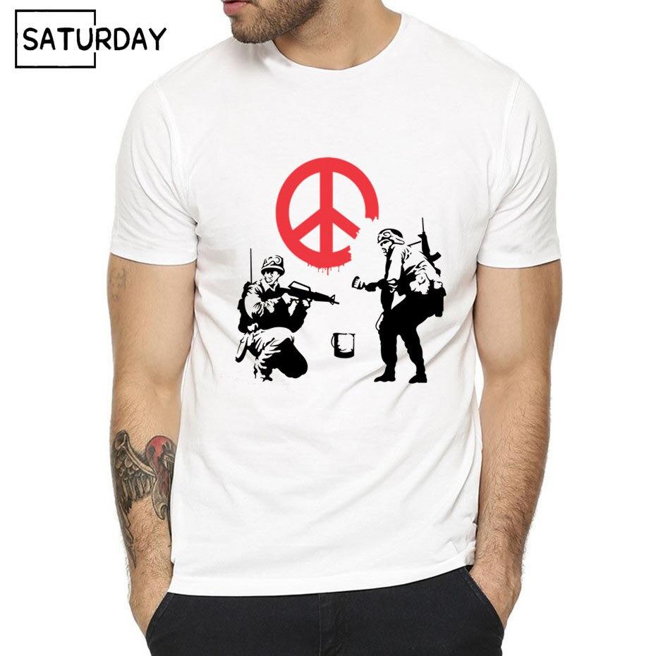 Men Banksy Urban Funny Fashion T-shirt 2019 Summer Short Sleeves White Hipster Harajuku Hip Hop Swag T-shirt Unisex Clothes
