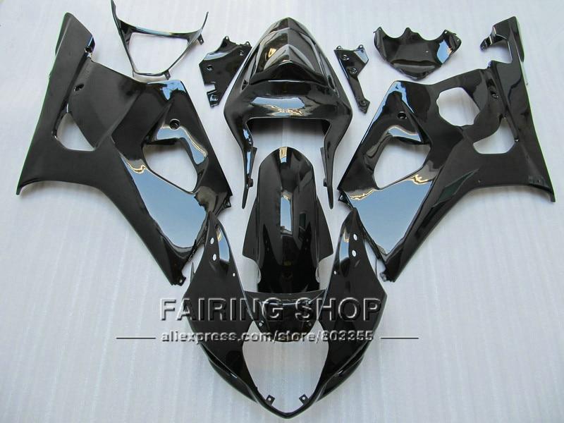 Injection molded fairing kit for Suzuki GSXR1000 2003 2004 glossy black bodywork fairings set GSXR 1000 03 04 YI50 injection molded fairing kit for honda cbr600rr 03 04 cbr600 cbr600rr f5 2003 2004 red orange black fairings set zq24