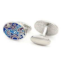 Kemstone Silver Plated Blue Enamel Engraved Cufflinks