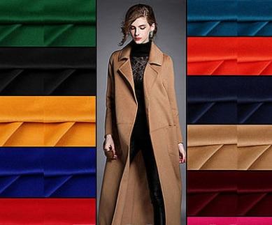 2018 Europe High end Brand Coat Wool Silk Fabric Merino Cashmere Wool Silk Fabrics Smooth Glossy Anti static gold Fabrics