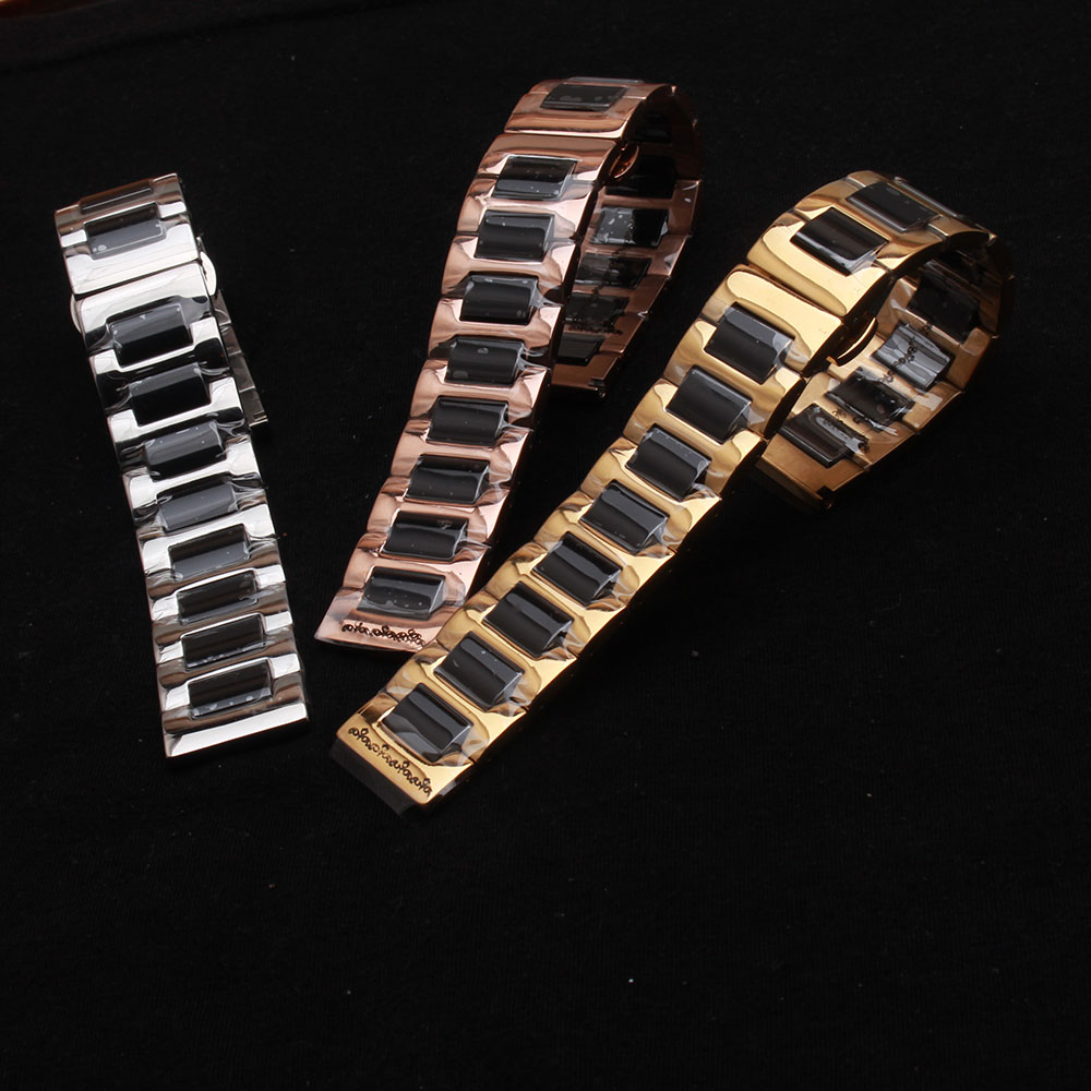 Black Ceramic Watchband with Metal Stainless steel solid links Watch strap bracelet 14mm 16mm 18mm 20mm 22mm fashion deployments hot sale ceramic 14mm 16mm 18mm 19mm 20mm 22mm black white watchband men women bracelet for women dress new general watch strap