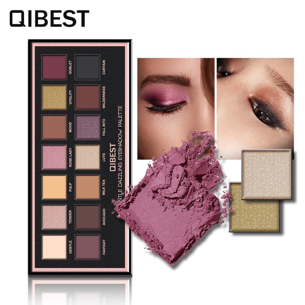 QIBEST Makeup Matte Glitter Eyeshadow Palette Set 14 Sexy Colors Shimmer Gentle Dazing Eye shadow Flannel gold Eye Beauty Tools