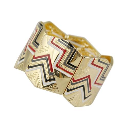 Vintage New Women Gold Plated Colorful Enameling Hinge Bangle Statement Bijoux for Men