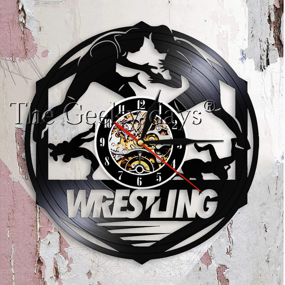 Westlers Grappling Freestyle Fight Martial Wall Art Wall Clock Watch Wrestling Combat Sport Vinyl Record Wall Clock Fighter Gift