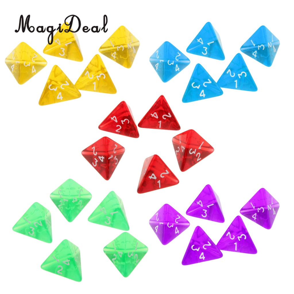 MagiDeal 5Pcs/Lot Gem Muti Acrylic Sided Dices Set D4 Dark Heresy D&D RPG Games for Kids Adult Party Pub Bar Toys Gifts 5 Colors