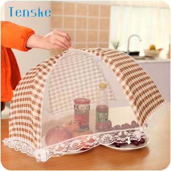 Kitchen Folded Food Cover umbrella Hygiene Grid Style Kitchen Food Dish Cover Kitchenware q70831