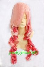 Wholesale heat resistant LY free shipping New wig Heat Resistant Cosplay Long Curly Pink Red Mixed