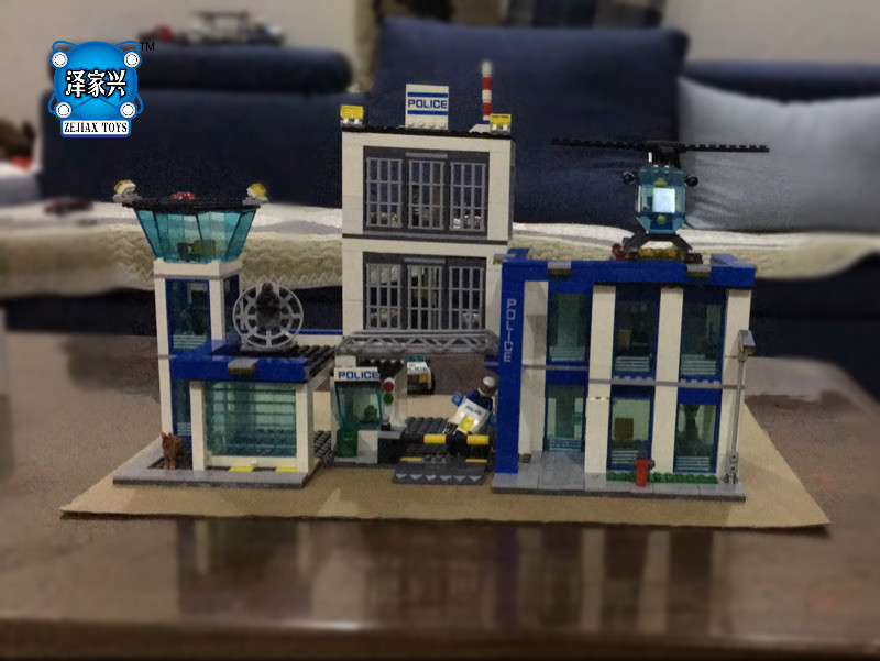 City Police Station Building Bricks Blocks Toys for Children Boys Game Team Castle Compatible with Lepins DIY 3D Model compatible lepin city block police dog unit 60045 building bricks bela 10419 policeman toys for children 011