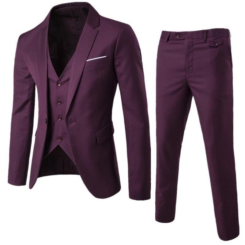 Men Formal Suits Slim Fit 3 Pcs Set Italian Office Party Costume ...