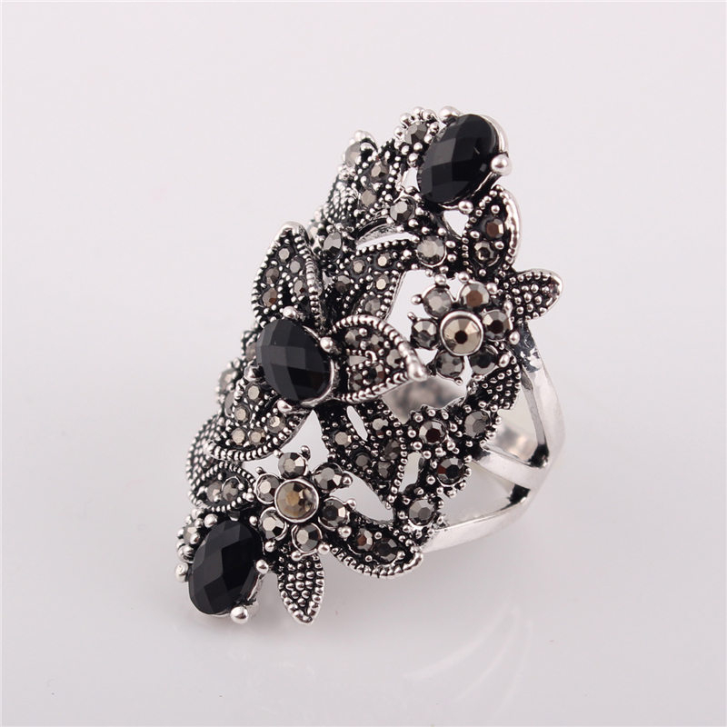 Ajojewel Black Crystal Rhinestone Flower Jewelry Vintage Retro Ring - Сәндік зергерлік бұйымдар - фото 4