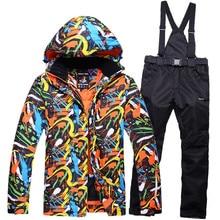 -30 MENs traje de conjuntos de ropa de snowboard de esquí impermeable ya prueba de viento de la nieve del invierno trajes de esquí al aire libre chaquetas + Suspender Pantalones