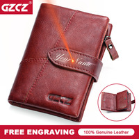 GZCZ Retro Wallet For Women Genuine Leather Vintage Brand Clutch Bag Design Removed Coin Purse Zip