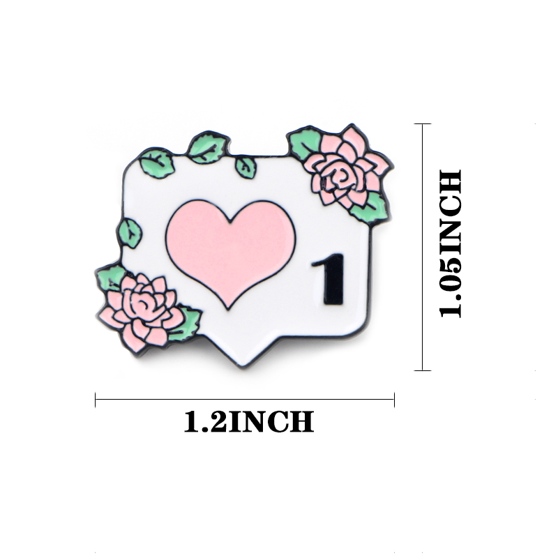 K300 Instagram Enamel Pin Notification 1 like Brooch Metal Brooches for Women Men Lapel Pin Backpack Badge Denim Brooch in Brooches from Jewelry Accessories