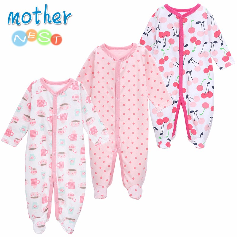Mother Nest 3 PCSLOT Baby Boy Clothes Comfortable Baby Rompers Winter Thick Climbing Clothes Newborn 0-12 M Baby Clothes Unisex (2)