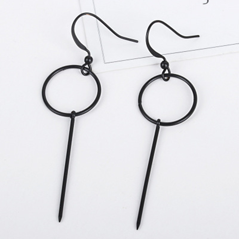 Size of Circle Long <font><b>BTS</b></font> Earrings Korean Style Female Simple Geometric Silver hoop Earrings for Women men Fashion Pretty Jewelry image
