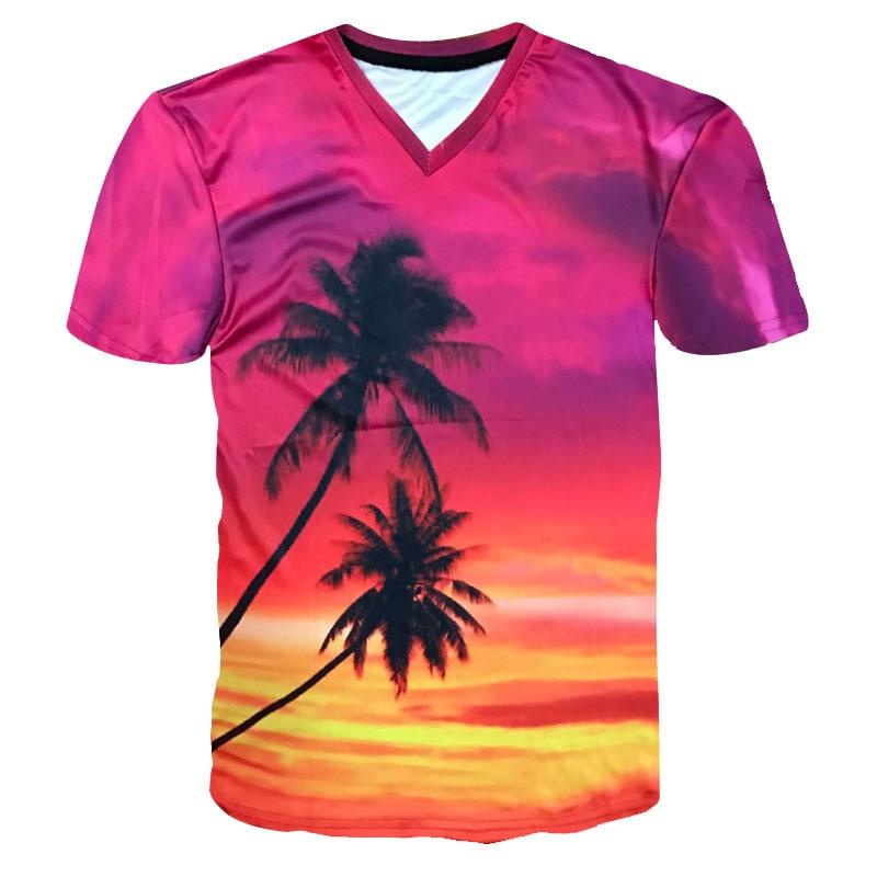 2018 Fashion 3D T-Shirt Sunset Glow Coconut tree Beautiful scenery 3d printed short sleeve T shirt men/women's