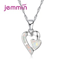 Jemmin Romantic Wedding Double Heart Necklace Jewelry For Brides 925 Sterling Silver White Fire Opal Pendant Necklace For Women