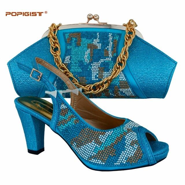 Abendgesellschaft smart schuh fluoreszenz skyblue farbe schnalle Italienische  schuhe und tasche passenden set Afrikanische damen schuhe 4fea96efa9