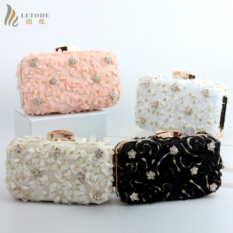 Women's Handbags Evening Clutch Bag Cotton Lace Travel Day Clutches Bags Diamonds Prom Wallet Coin Party Totes bolsa feminina