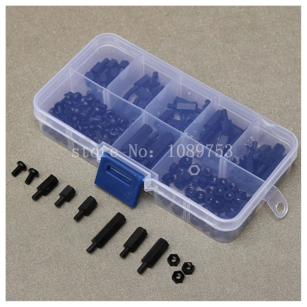 220Pcs Black Nylon M3 Hex Column Male-Female Standoff Spacers Screw Nut Kit Box m3 nylon hex column male 6mm x m3 female spacer standoff screw nut