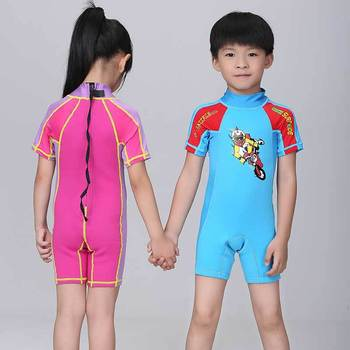 Retail Girls' Swimsuit Bathing one girl High Skull Swimwear Blue SwimWear children wetsuit summer  surfing diving suit