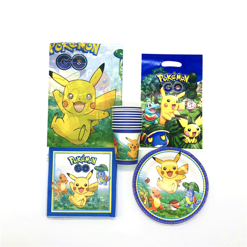 High Quality 81Pcs Pokemon Go Theme Tableware Kid Birthday Party Event Party Wedding Cup Plate Gift Bag Napkin Tablecloth SupplyHigh Quality 81Pcs Pokemon Go Theme Tableware Kid Birthday Party Event Party Wedding Cup Plate Gift Bag Napkin Tablecloth Supply