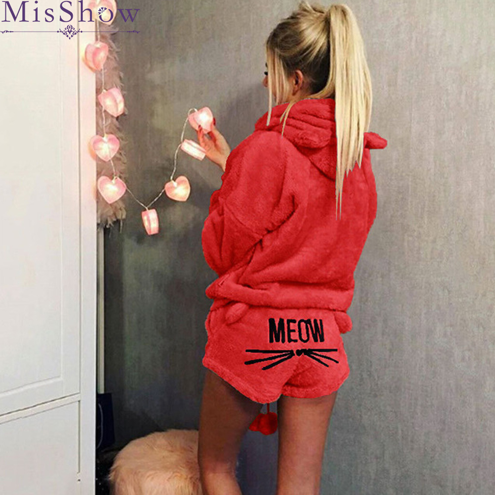 Women   Pajama     Sets   2019 Flannel Cartoon Autumn winter Warm pijama plus size Pyjamas Hooded Sleepwear Cat female Animal   pajama