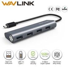 Wavlink Алюминий USB 3.1 Тип C до 4 порта USB 3.0 High Скорость usb hub Поддержка скорость передачи данных до 5 Гбит/с для ноутбуков Macbook Mac
