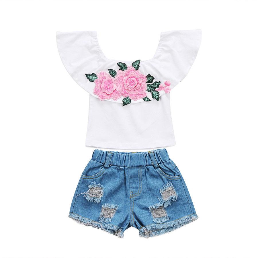 Дети маленьких Обувь для девочек цветочный набор офф-shouler Топы + джинсовые шорты Брюки 2 шт. комплект летней одежды
