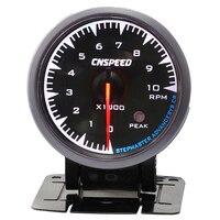 2.5' 12V Black Car RPM 10000K Tachometer Meter Gauge 7 Color LED Shift Light Tachometer Gauge Auto Replacement